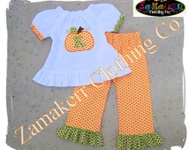 READY TO SHIP - Fall Thanksgiving Pumpkin Outfit Custom Boutique Clothing Baby Girl Ruffle Pant Set size 3T 3