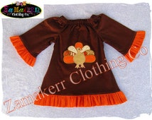 Fall Thanksgiving Turkey Dress Custom Boutique Clothing Pageant Girl Baby Gift Birthday Size 3 6 9 12 18 24 month size 2T 3T 4T 5T 6 7 8 Set