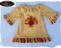 Girl Fall Thanksgiving Turkey Dress - Baby Girl Clothes Girl Peasant Ruffle Dress Size 3 6 9 12 18 24 month size 2T 2 3T 3 4T 4 5T 5 6 7 8