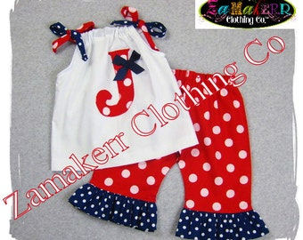 Custom Boutique Clothing Fourth 4th of July Girl Outfit Top Pant Set Pageant Memorial Day 3 6 9 12 18 24 month size 2t 2 3t 4t 5t 6 7 8