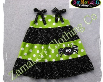 Custom Boutique Clothing Girl SPIDER Halloween Dress Tiered Infant Toddler Baby Pageant Gift Size 3 6 9 12 18 24 month 2T 3T 4T 5T 6 7 8
