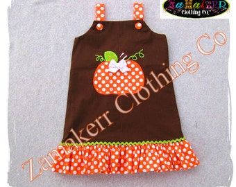 Custom Boutique Clothing Girl Pumpkin Dress Fall Thanksgiving Turkey Halloween Patch Pageant 3 6 9 12 18 24 month size 2T 3T 4T 5T 6 7 8