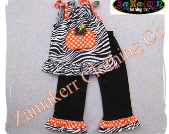 Custom Boutique Clothing Girl Zebra Pumpkin Outfit Thanksgiving Halloween Turkey Dress Pant Set  3 6 9 12 18 24 month size 2T 3T 4T 5T 6 7 8