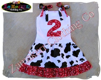 Cow Bandana Girl Dress - Custom Boutique Clothing - Girl Birthday Farm Ruffle Dress 3 6 9 12 18 24 month size 2T 2 3T 3 4T 4 5T 5 6 7 8