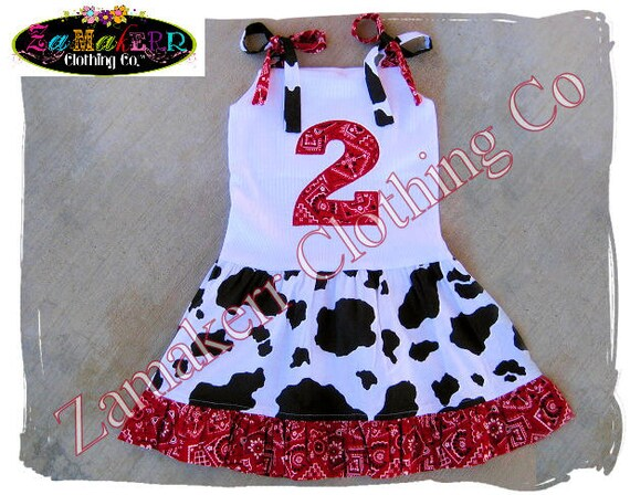 Cow Bandana Girl Dress - Custom Boutique Clothing - Girl Birthday Farm Ruffle Dress 3 6 9 12 18 24 month size 2T 2 3T 3 4T 4 5T 5 6 7 8
