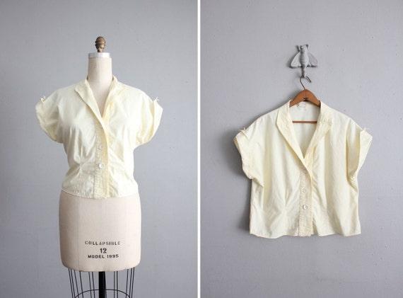 1950s vintage pale yellow cotton blouse