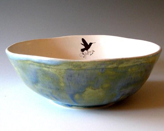 Large Ceramic  Bowl - Humming Bird -  Hand Thrown Ceramic Stoneware Pottery