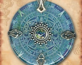 Teal Aztec Mayan Calendar Necklace - Reversible Glass Art - Symbolz - The Ancient Mysteries Collection - Teal Aztec Sun Stone
