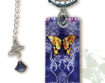 Tattoo Camouflage Paisley Butterfly Glass Necklace - GeoForms SHIMMERZ - Reversible Glass Art Necklace - Blue Purple Tattoo  Butterfly