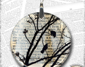 Black Bird Dictionary Glass Art Necklacet from Upcycled Dictionary page book art - WilD WorDz - Carriers of the Word Chapt. 1