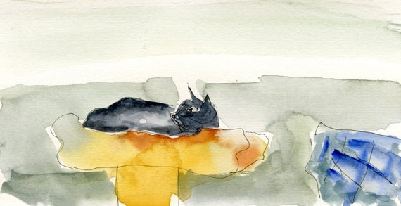 Original drawing, painting, The Upper Shelf,  ooak, feline, ink, Vang paper