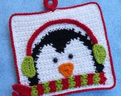 Winter Penguin Potholder Crochet PATTERN - INSTANT DOWNLOAD