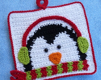 Winter Penguin Potholder Crochet PATTERN - INSTANT DOWNLOAD