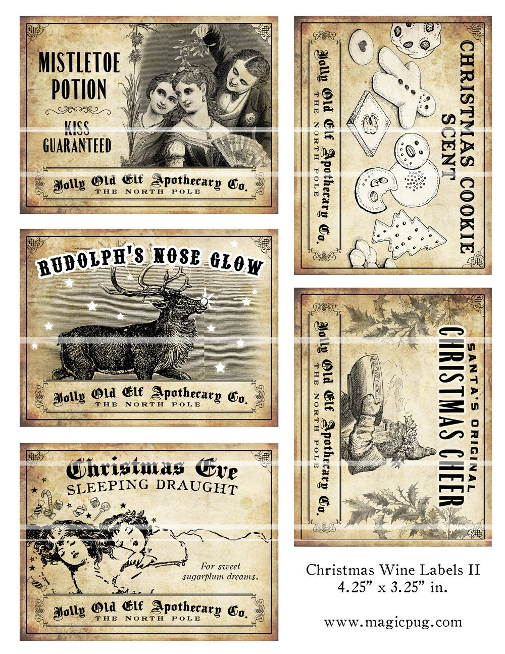 Antique Christmas Potion Wine Labels 4 25 X 3 25 By Magicpug