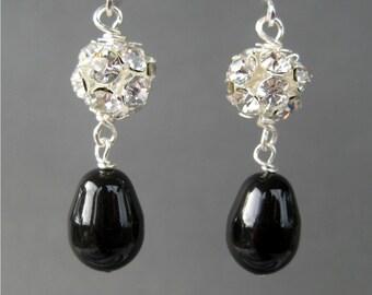 Black Pearl Clip On Earrings, Rhinestone Dangle Clipons, Silver Ear Clips, Black Teardrops, Mrs Sparkle Black