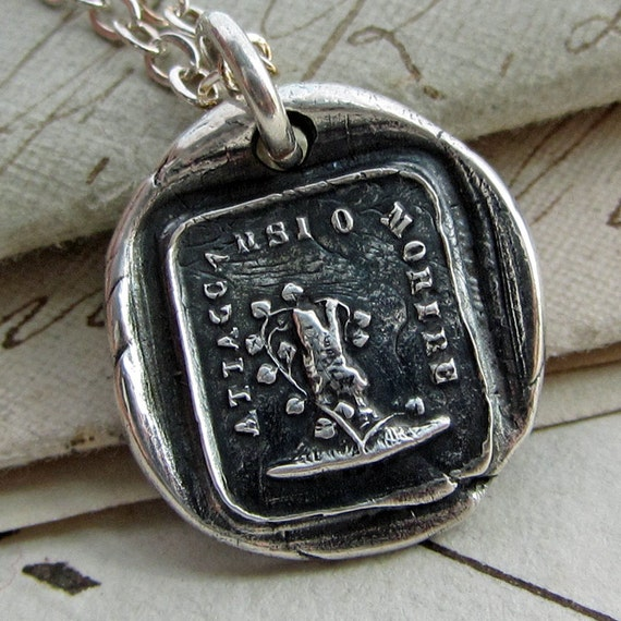 Attached Until Death wax seal necklace - Till Death Do Us Part Italian wax seal jewelry  Woodbine & Oak, marriage and engagement - IS285