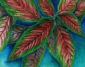 Variegated Foliage Watercolor/Acrylic Painting