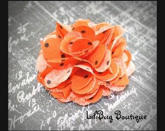 LiliBug Frayed Shabby Chic Orange Black Dot Fabric Flower Clip - Halloween