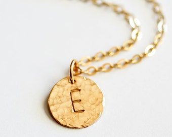 Hammered Simply Stated Necklace in 14K Gold Filled - Personalized 1/2 Inch Disc with Initial - 2 Pendants