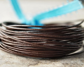 Round Leather .5mm Fine Cord  Chocolate Brown : 15 Feet Genuine Leather Cord