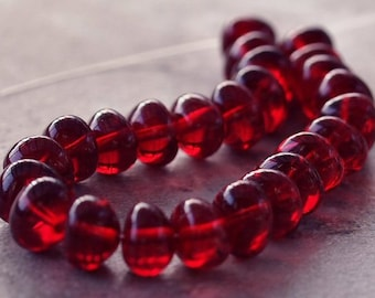 Ruby Red Czech Glass 6x8mm Nugget Bead : 25 pc