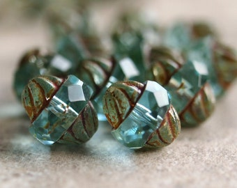 Czech Glass Aqua Turbine Bead Picasso Antique Style Faceted 11x10mm Oval : 10 pc