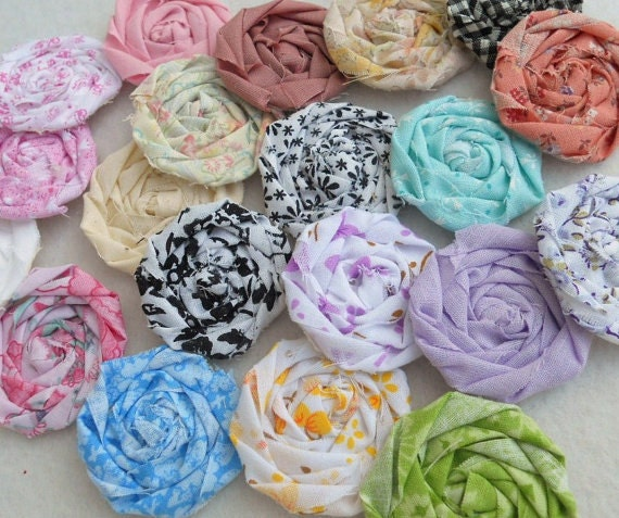 CUSTOM ORDER Fabric Roses and YoYos
