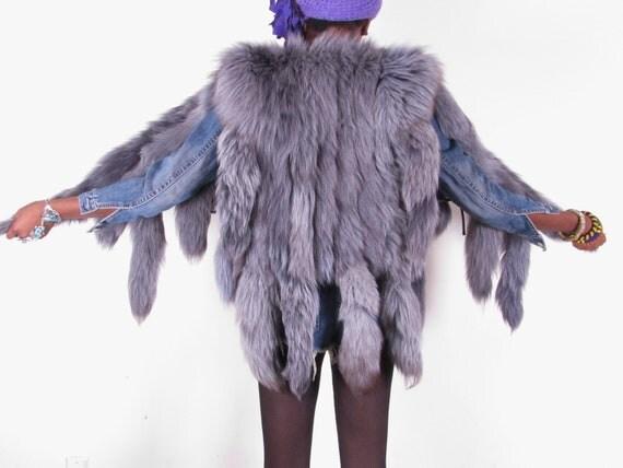 rare 70s bluish gray vintage 15 tail fox fur gilet vest