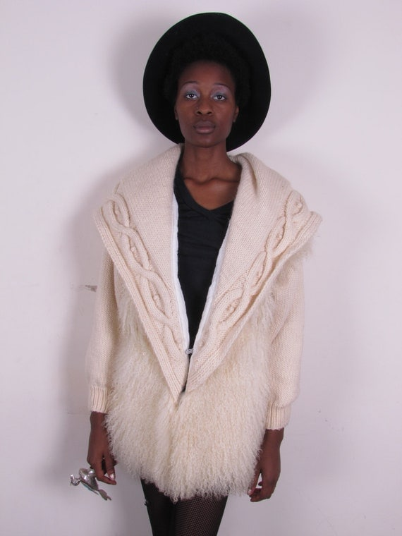 vintage white tibet mongolian tibetan lamb and knitt sweater coat vest gilet sm med
