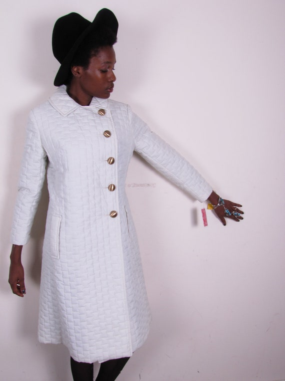 new old stock vintage 60s mod winter white puffer nylon spy skinny one side breasted huge gold button jacket coat sm med lg