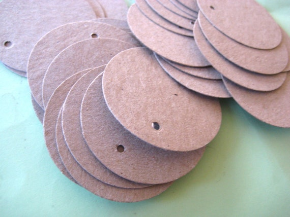 20 Recycled Kraft cardstock Tags Pricing Tag Circle Hanging tags Post Consumer paper