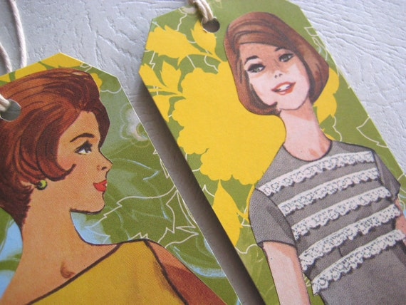 Retro Girl Gift tags set  - Citrus Splash - 1960s Midcentury fashions Fun glamour girls Mad men