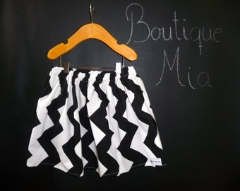 SAMPLE - Children Skirt - Chevron Black and White - Will fit Size  2T up to 5T - by Boutique Mia - Ready To Ship