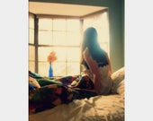 Morning: fine art portrait photograph print with morning light, window, bed, woman - UninventedColors