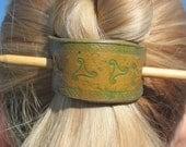 Hand Stamped Leather Barrette/Ponytail Holder-  Celtic Triskele