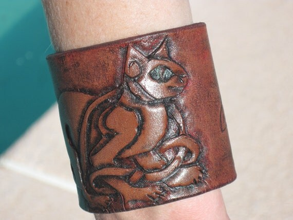 Hand Tooled Leather Cuff- Celtic Cat triquetra