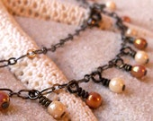 Rose Gold and Opaque Luster Champagne Drop Necklace on Gunmetal Chain - mompotter