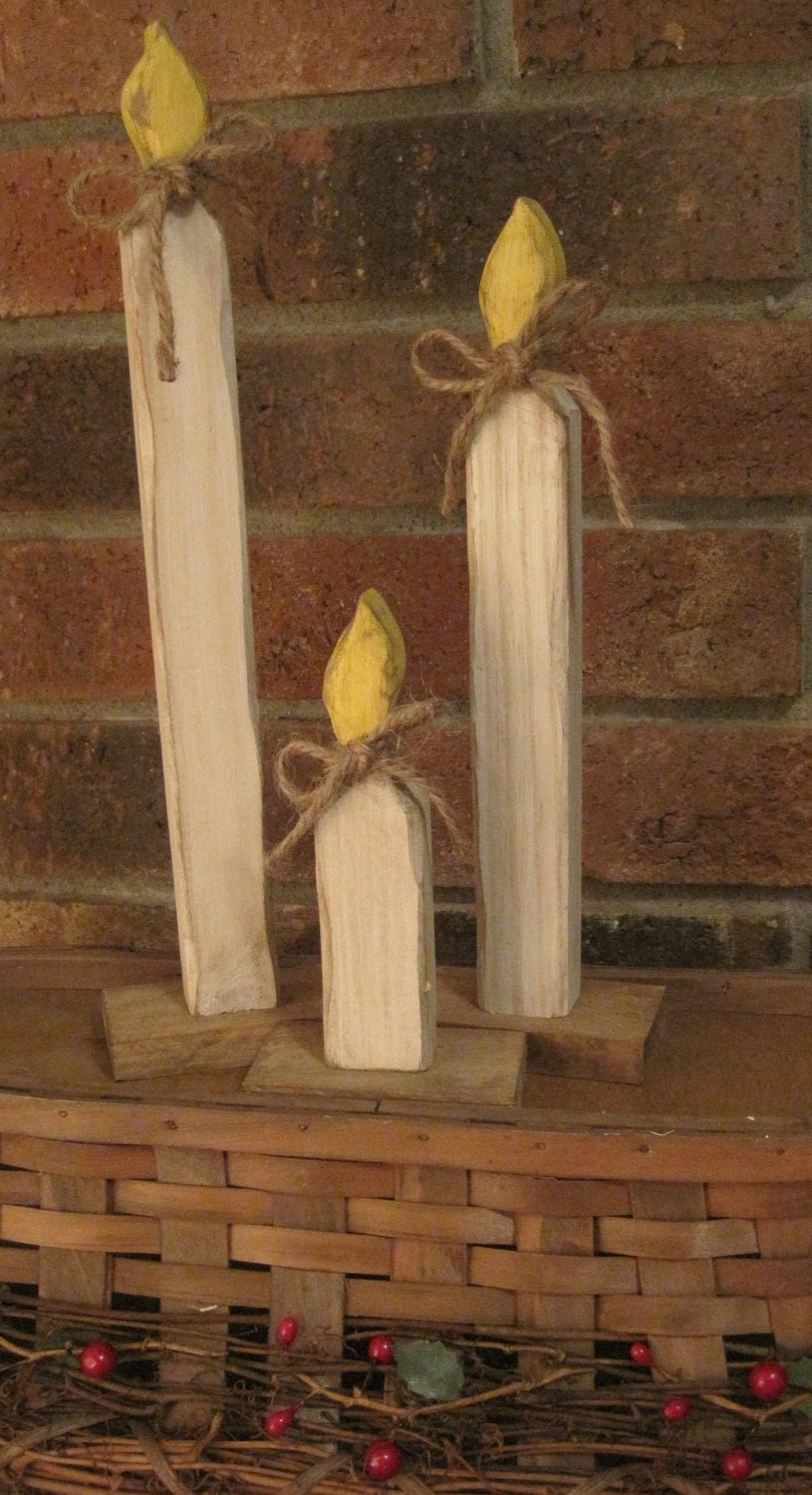 Primitive Christmas Candles Wooden Rustic Decoration Country