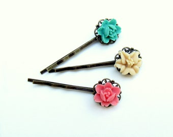 Pink Bobby Pin, Teal Flower Hairpin, Hairpin Gift Se,t under 15, Gift for Tee,n Antique Brass Pins, Hair Jewelry, FLower Bobby Pin