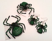 Halloween Spider Jewellery Set, Hair grip, brooch, Earrings - Custom Listing