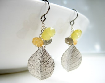 Silver Leaf Earrings - yellow and gray cluster of gemstones with charm - Elm Leaf (Silver)