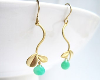 Gold Leaf Earrings - gold vine earrings with mint green chrysoprase gemstone drop, May birthstone, bridesmaid gift- Fruit of The Vine