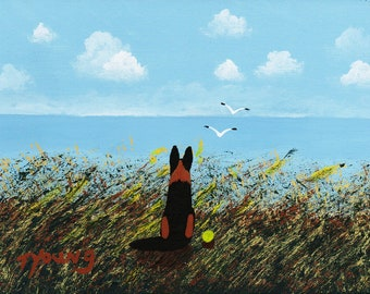 German Shepherd Dog Folk Art Print by Todd Young Sea Oats