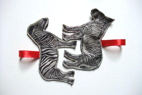 Linocut Zebra Ornament Set