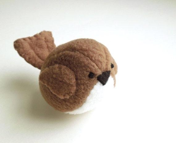 Childrens Brown Bird Stuffed Animal Kids Handmade Plush Toy