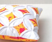 Clearance Pincushion Batik Yellow Red Mini Cathedral Window Pillow - 5 Inches Square