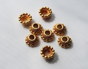 4 Pcs, 7.5MM, 24kt karat Gold Vermeil Bali Bead Cap With Dots