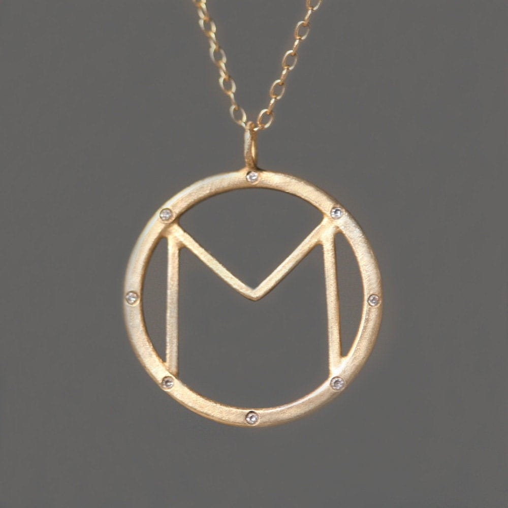 8 diamond initial pendant in 14k gold for 14k gold letter necklace