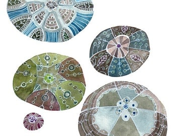 Crocheted Stones Watercolor -- PRINT Of My Original Painting