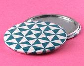 Geometric Pocket Mirror - Triangles - Teal